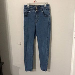 Cotton On Blue High Waisted Skinny Jeans...Size 6